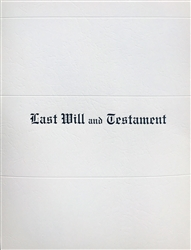 Last Will & Testament Document Cover, White Marble
