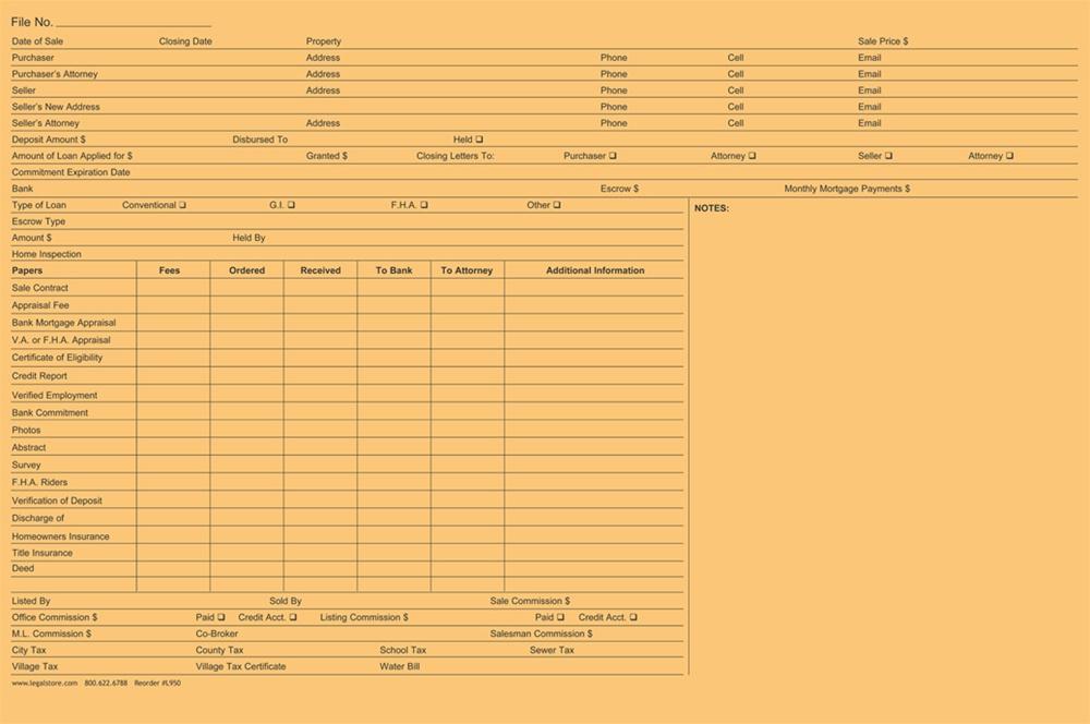 Legal Size Real Estate File Folder - Real estate legal documents