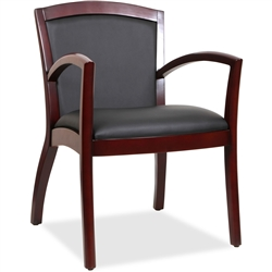 Lorell Arched Arms Wood Guest Chair - Mahogany