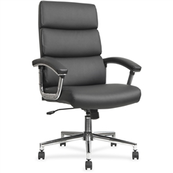 Lorell Leather High-back Chair - Black