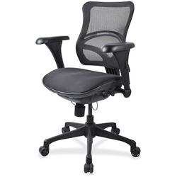 Lorell Mid-back Fabric Seat Chairs - Black