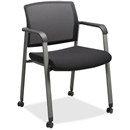 Lorell Mesh Back Guest Chairs with Casters - Black