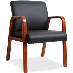 Lorell Black Leather Wood Frame Guest Chair - Cherry