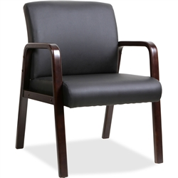 Lorell Black Leather Wood Frame Guest Chair- Espresso