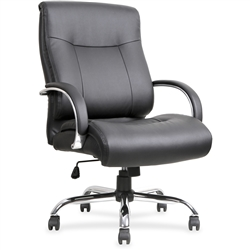 Lorell Leather Deluxe Big/Tall Chair - Black