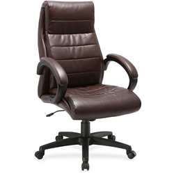 Lorell Deluxe High-back Leather Chair - Brown