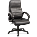 Lorell Deluxe High-back Leather Chair - Black