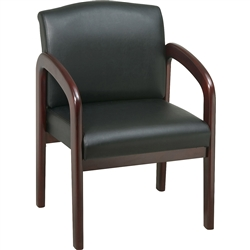 Lorell Deluxe Faux Guest Chair - Mahogany