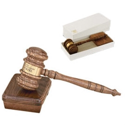 *13-1/2 Gavel with Sound Block, Oak Style