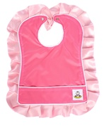 Oversize Bib with Pink Satin Ruffle