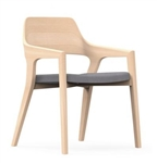 iDesk CRZ505 Natural Ash Crazy Horse Side Chair with Coal Fabric Seat