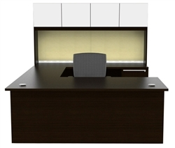 Verde VL-675N U Shaped Desk with Hutch by Cherryman