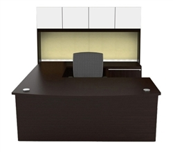Verde VL-679N Modern U Shaped Workstation with Hutch by Cherryman