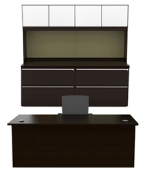 Verde Executive Desk and Credenza Set VL-703N by Cherryman