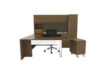 Cherryman VL-738 Verde Arc End U Desk with Mobile File Pedestal