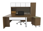 Verde White Glass Accented Executive Desk Set by Cherryman