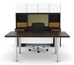 Modern White Glass Executive Desk Set VL-749N by Cherryman