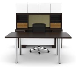 Modern White Glass Executive Desk Set VL-749N by Cherryman