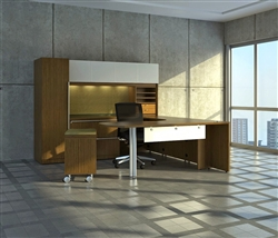 Custom Verde Series Latte Desk Layout with Left Return by Cherryman