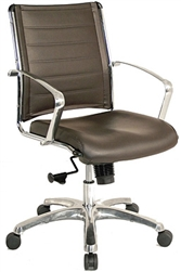 Europa Black or Brown Leather Mid Back Office Chair LE822 by Eurotech