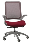 Burgundy Mesh Back Hawk Task Chair with Grey Frame by Eurotech Seating