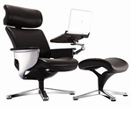Nuvem Black Leather Reclining Executive Chair with Ottoman and Tablet Arm by Eurotech
