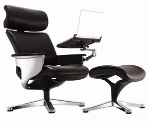 Tablet Arm Chair >> Nuvem Black Leather Reclining Executive Chair With Ottoman And