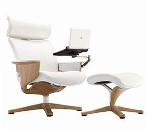 Charmant Nuvem White Leather Reclining Executive Chair With Ottoman And Tablet Arm  By Eurotech