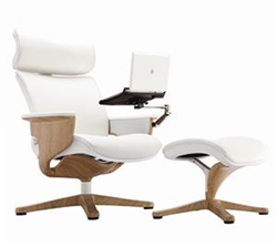 Nuvem White Leather Reclining Executive Chair with Ottoman and Tablet Arm by Eurotech