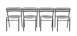 4 Pack of Eurotech Reklin Indoor/Outdoor Stack Chairs