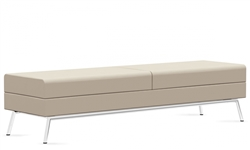 3363BLM Wind Linear Reception Bench in Leather by Global