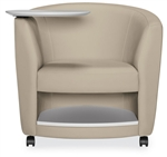 Sirena Tablet Arm Lounge Chair with Wheels and Storage Shelf by Global