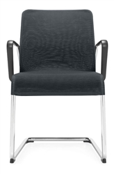 5945 Lite Series Sled Base Mesh Reception Chair with Arms by Global