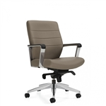 Global Lurary Mid Back Leather Office Chair with Knee Tilt Mechanism - 6462LM-2