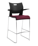 Duet Barstool 6632 with Arms and Upholstered Seat by Global