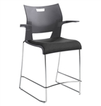 Duet Stacking Counter Height Barstool 6662 with Arms by Global