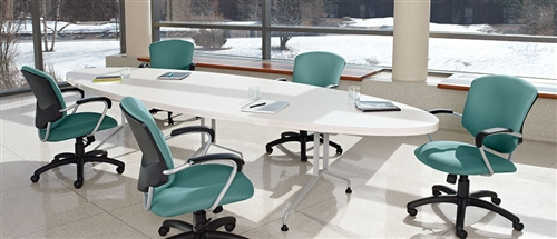 Alba Series White Conference Table With Elliptical Top By Global - Elliptical conference table