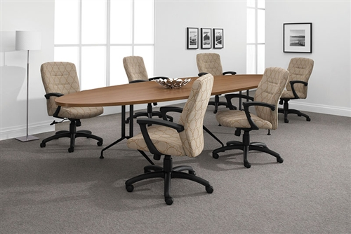 Alba Elliptical Conference Table With Metal Legs By Global - Elliptical conference table