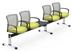 Global Vion 4 Person Mesh Back Beam Chair with USB and AC Inputs