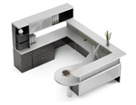 Zira Series Contemporary U Shaped Reception Desk by Global