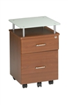 Mayline Vision Series 973 Mobile Cherry File Pedestal with Glass Top