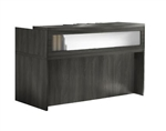 Mayline Aberdeen Gray Steel Reception Desk Shell with Glass Accents