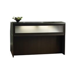 Aberdeen Small Mocha Reception Desk with Glass Accents by Mayline
