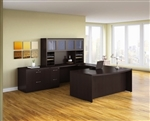 Mayline Aberdeen Mocha Finished U Shaped Executive Furniture Layout