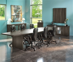 Aberdeen Gray Steel Finished 12' Boat Shaped Conference Table ACTB12LGS by Mayline