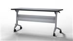"Mayline Flip-N-Go Silver Base Training Table with 48"" x 18"" Top"