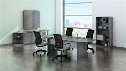 Mayline Medina Gray Steel Laminate Conference Table With Optional - Gray conference table