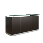 Mayline Medina Reception Desk with Storage and Glass Transaction Counter