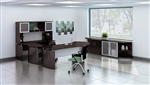 Medina Collection Mocha U Desk with Wall Storage Configuration by Mayline