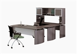 Mayline Medina MNT35LGS Executive U Desk with Gray Steel Finish